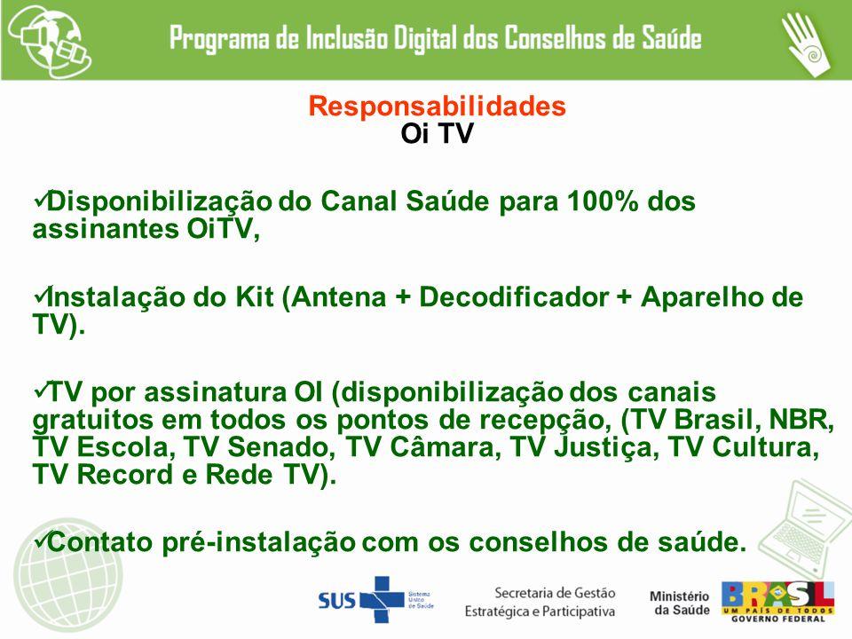 Responsabilidades Oi TV. Disponibilização do Canal Saúde para 100% dos assinantes OiTV,