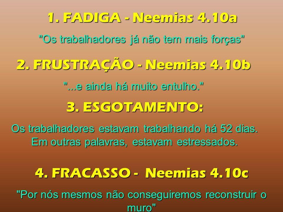 1. FADIGA - Neemias 4.10a 2. FRUSTRAÇÃO - Neemias 4.10b