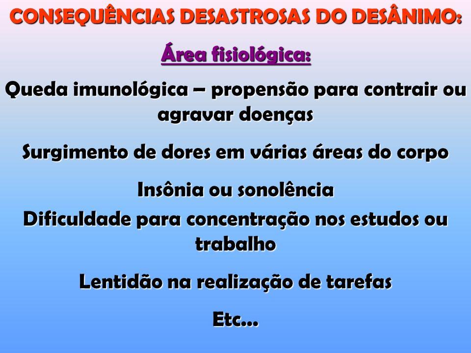 CONSEQUÊNCIAS DESASTROSAS DO DESÂNIMO: Área fisiológica: