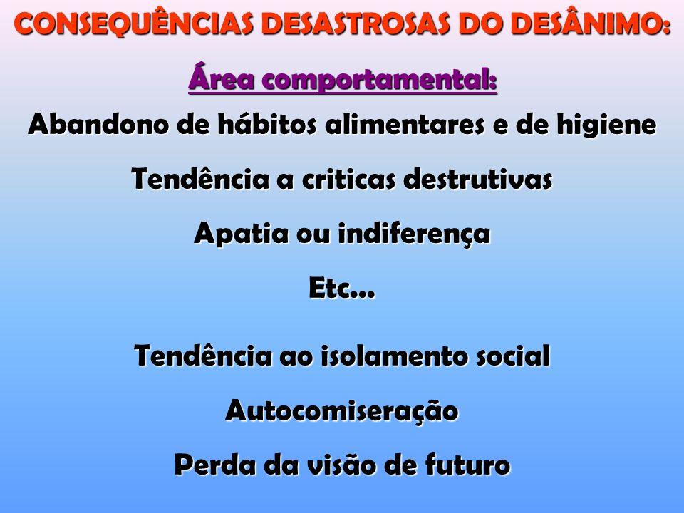CONSEQUÊNCIAS DESASTROSAS DO DESÂNIMO: Área comportamental: