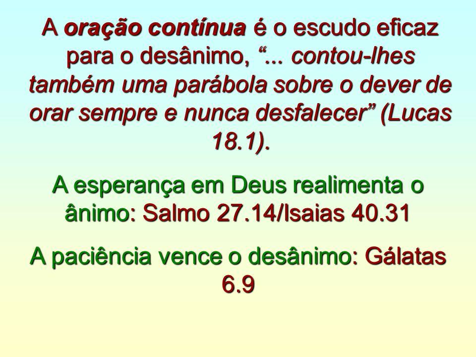 A esperança em Deus realimenta o ânimo: Salmo 27.14/Isaias 40.31