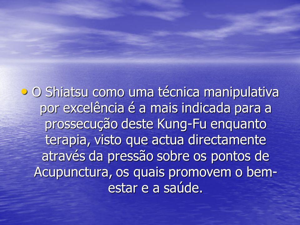 O Shiatsu como uma técnica manipulativa por excelência é a mais indicada para a prossecução deste Kung-Fu enquanto terapia, visto que actua directamente através da pressão sobre os pontos de Acupunctura, os quais promovem o bem-estar e a saúde.