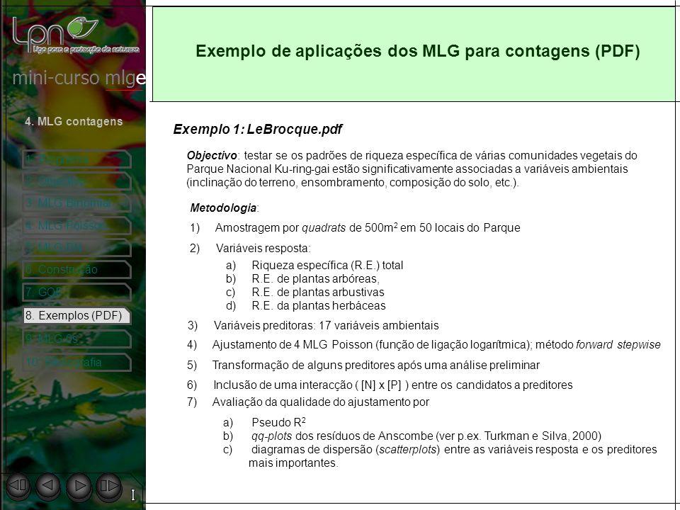 Exemplo de aplicações dos MLG para contagens (PDF)
