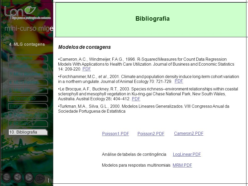 Bibliografia Modelos de contagens