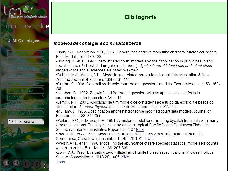 Bibliografia Modelos de contagens com muitos zeros