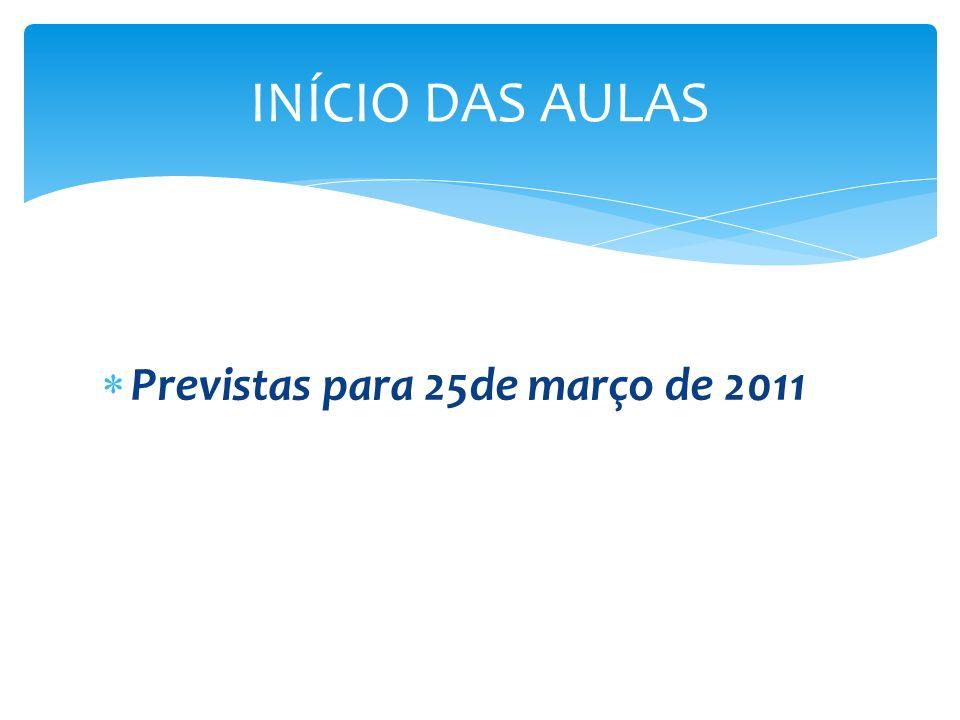 INÍCIO DAS AULAS Previstas para 25de março de 2011