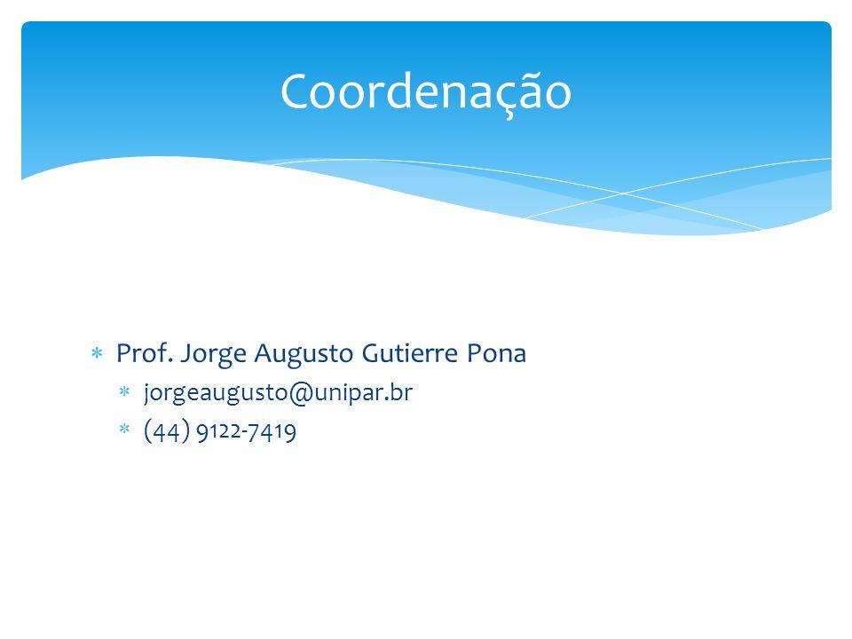 Coordenação Prof. Jorge Augusto Gutierre Pona jorgeaugusto@unipar.br
