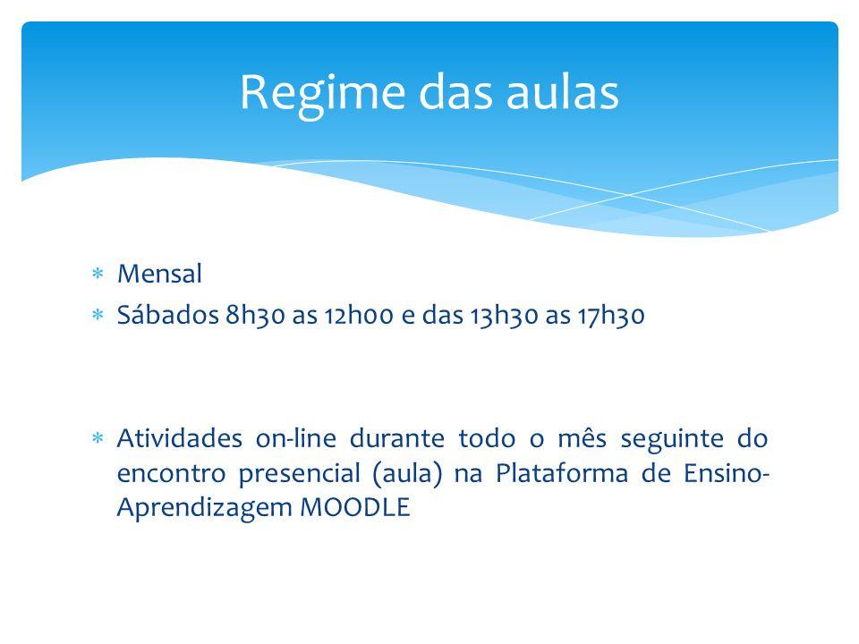 Regime das aulas Mensal Sábados 8h30 as 12h00 e das 13h30 as 17h30