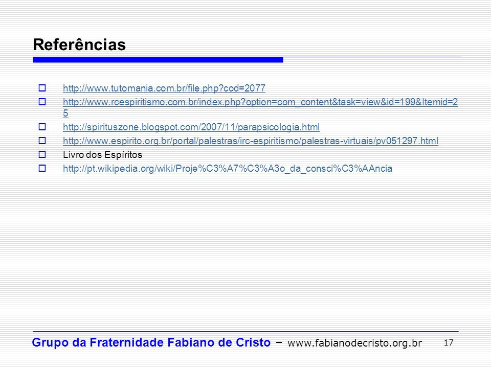 Referências http://www.tutomania.com.br/file.php cod=2077