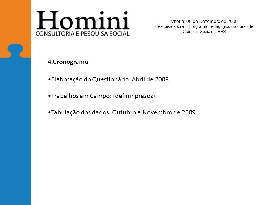 Elaboração do Questionário: Abril de 2009.