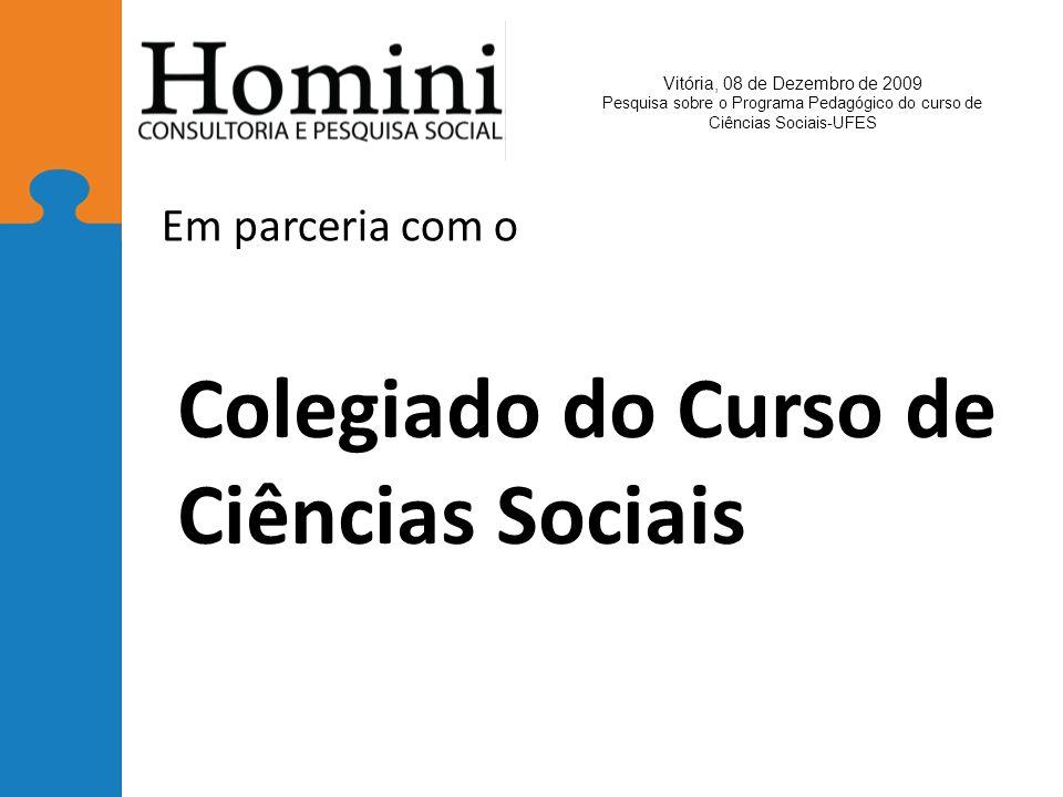 Colegiado do Curso de Ciências Sociais Em parceria com o