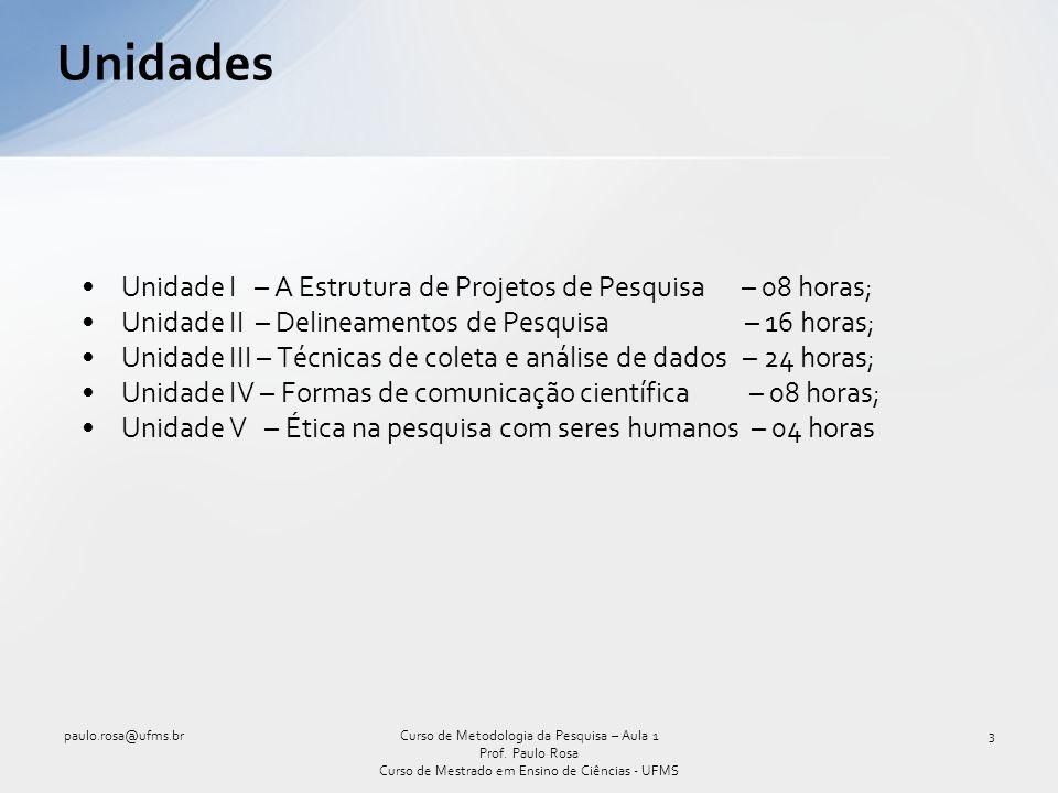 Unidades Unidade I – A Estrutura de Projetos de Pesquisa – 08 horas;