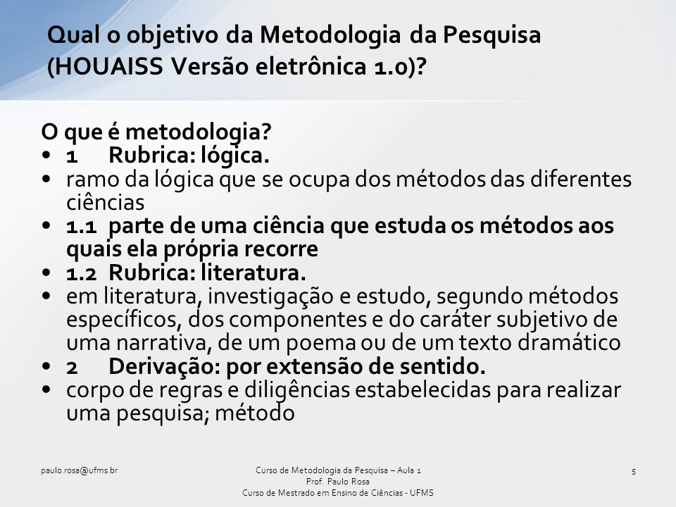 Qual o objetivo da Metodologia da Pesquisa (HOUAISS Versão eletrônica 1.0)