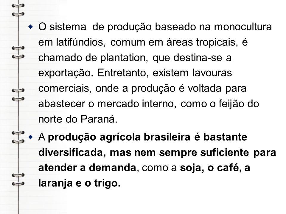 O sistema de produção baseado na monocultura em latifúndios, comum em áreas tropicais, é chamado de plantation, que destina-se a exportação. Entretanto, existem lavouras comerciais, onde a produção é voltada para abastecer o mercado interno, como o feijão do norte do Paraná.