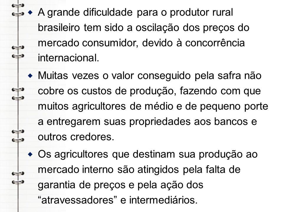 A grande dificuldade para o produtor rural brasileiro tem sido a oscilação dos preços do mercado consumidor, devido à concorrência internacional.