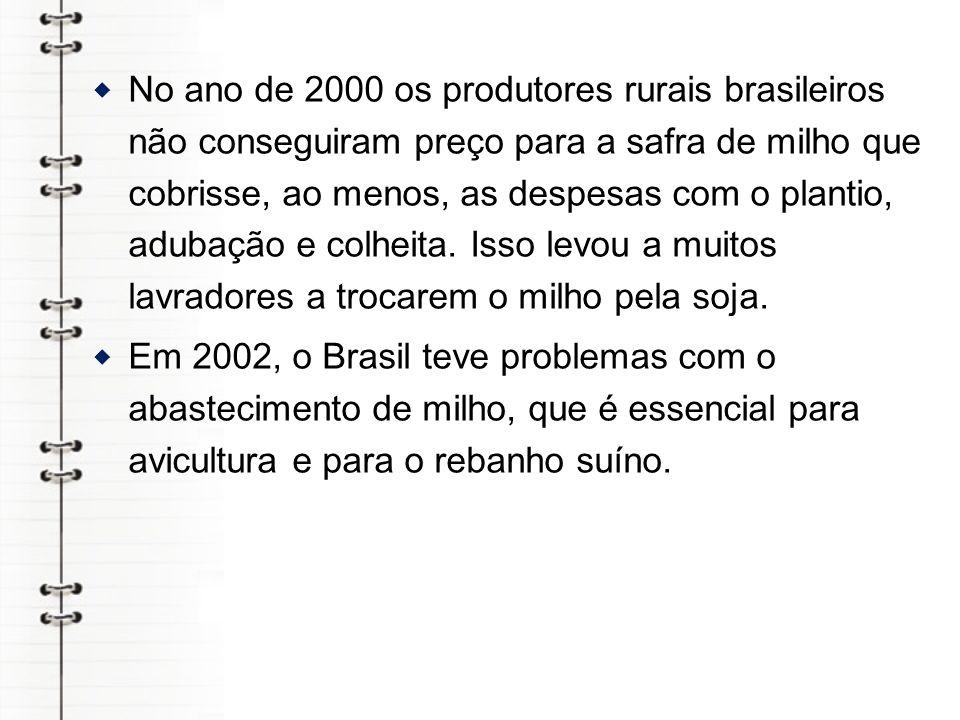 No ano de 2000 os produtores rurais brasileiros não conseguiram preço para a safra de milho que cobrisse, ao menos, as despesas com o plantio, adubação e colheita. Isso levou a muitos lavradores a trocarem o milho pela soja.