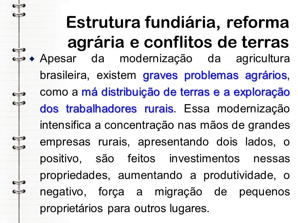 Estrutura fundiária, reforma agrária e conflitos de terras