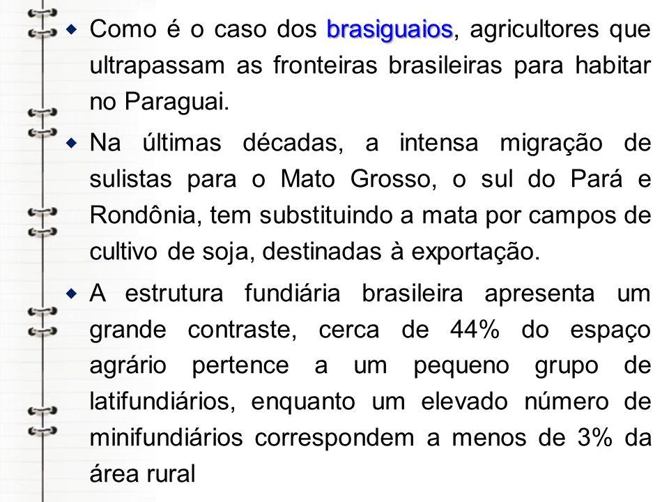 Como é o caso dos brasiguaios, agricultores que ultrapassam as fronteiras brasileiras para habitar no Paraguai.