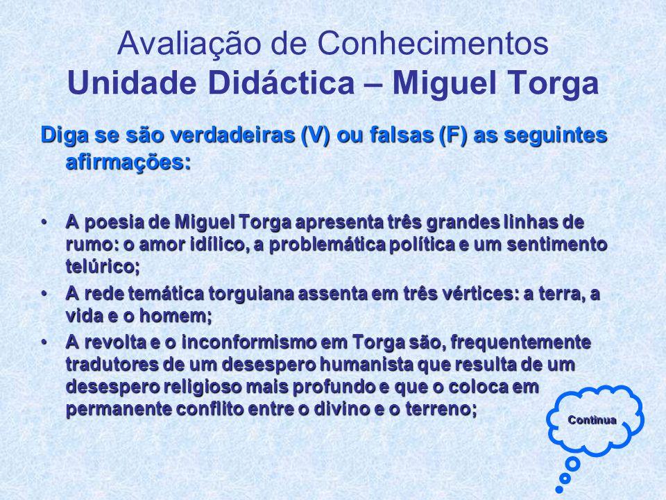 Avaliação de Conhecimentos Unidade Didáctica – Miguel Torga
