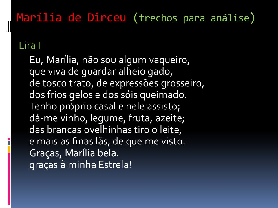 Marília de Dirceu (trechos para análise)