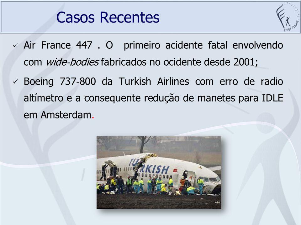 Casos Recentes Air France 447 . O primeiro acidente fatal envolvendo com wide‐bodies fabricados no ocidente desde 2001;