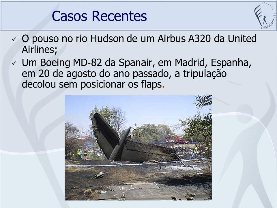 Casos Recentes O pouso no rio Hudson de um Airbus A320 da United Airlines;