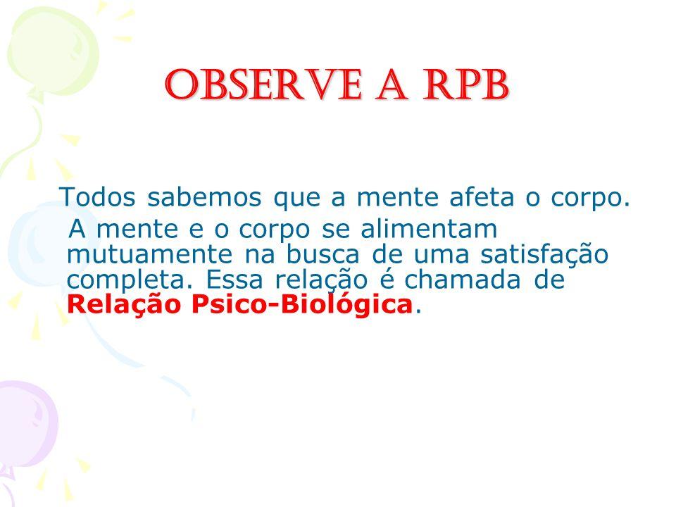 Observe a RPB Todos sabemos que a mente afeta o corpo.