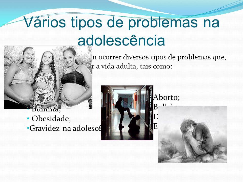Vários tipos de problemas na adolescência