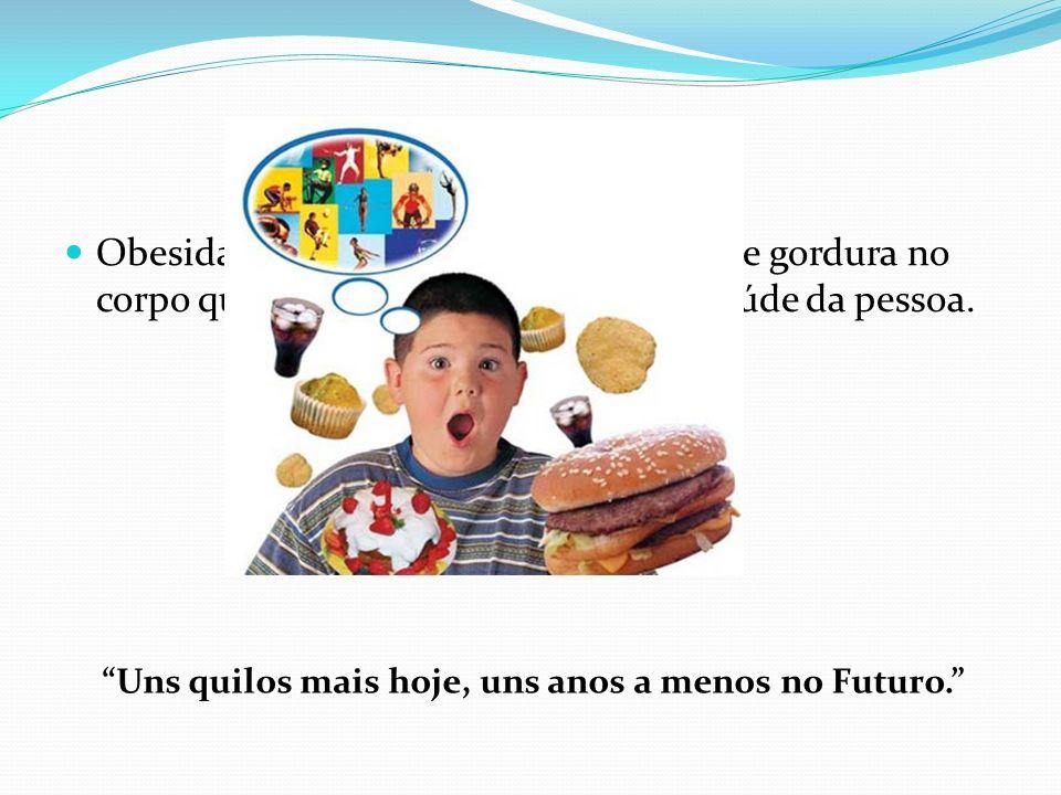 Obesidade Obesidade caracteriza-se por excesso de gordura no corpo que vão originar problemas na saúde da pessoa.