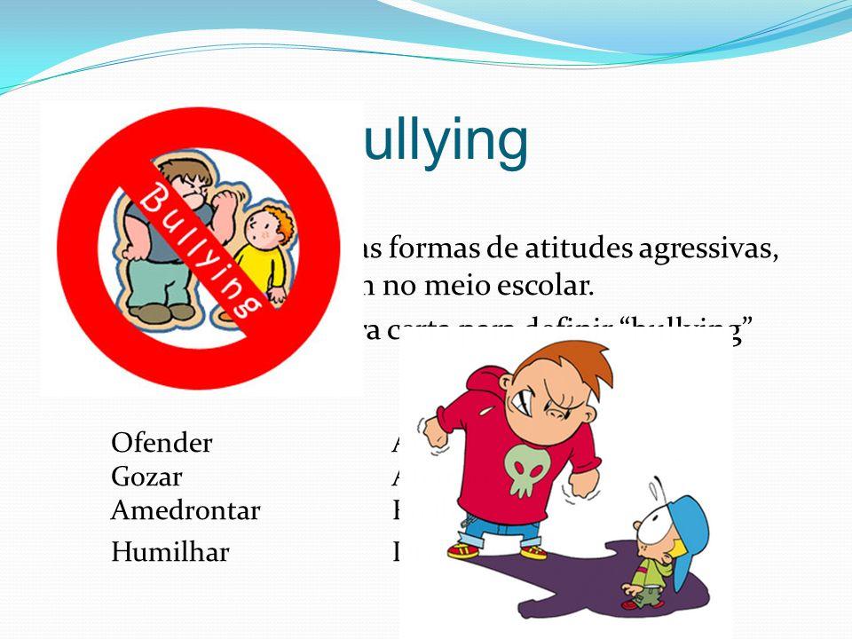 Bullying O Bullying são todas as formas de atitudes agressivas, normalmente ocorrem no meio escolar.