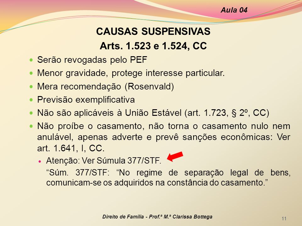 CAUSAS SUSPENSIVAS Arts. 1.523 e 1.524, CC