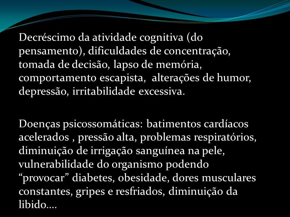 Decréscimo da atividade cognitiva (do pensamento), dificuldades de concentração, tomada de decisão, lapso de memória, comportamento escapista, alterações de humor, depressão, irritabilidade excessiva.