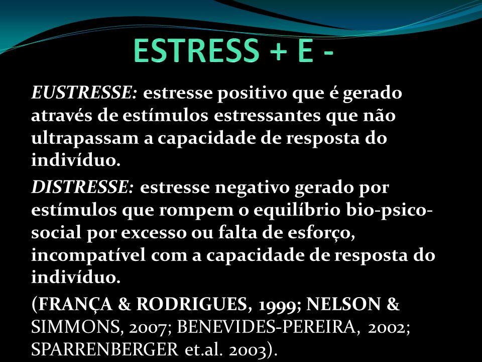 ESTRESS + E - EUSTRESSE: estresse positivo que é gerado através de estímulos estressantes que não ultrapassam a capacidade de resposta do indivíduo.