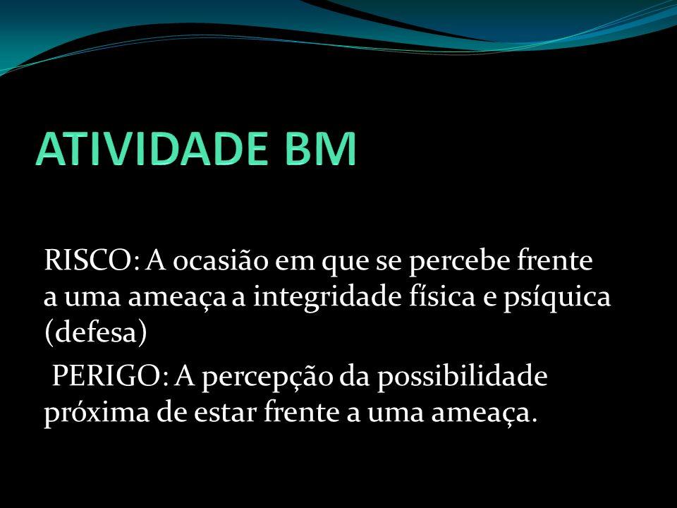 ATIVIDADE BM RISCO: A ocasião em que se percebe frente a uma ameaça a integridade física e psíquica (defesa)