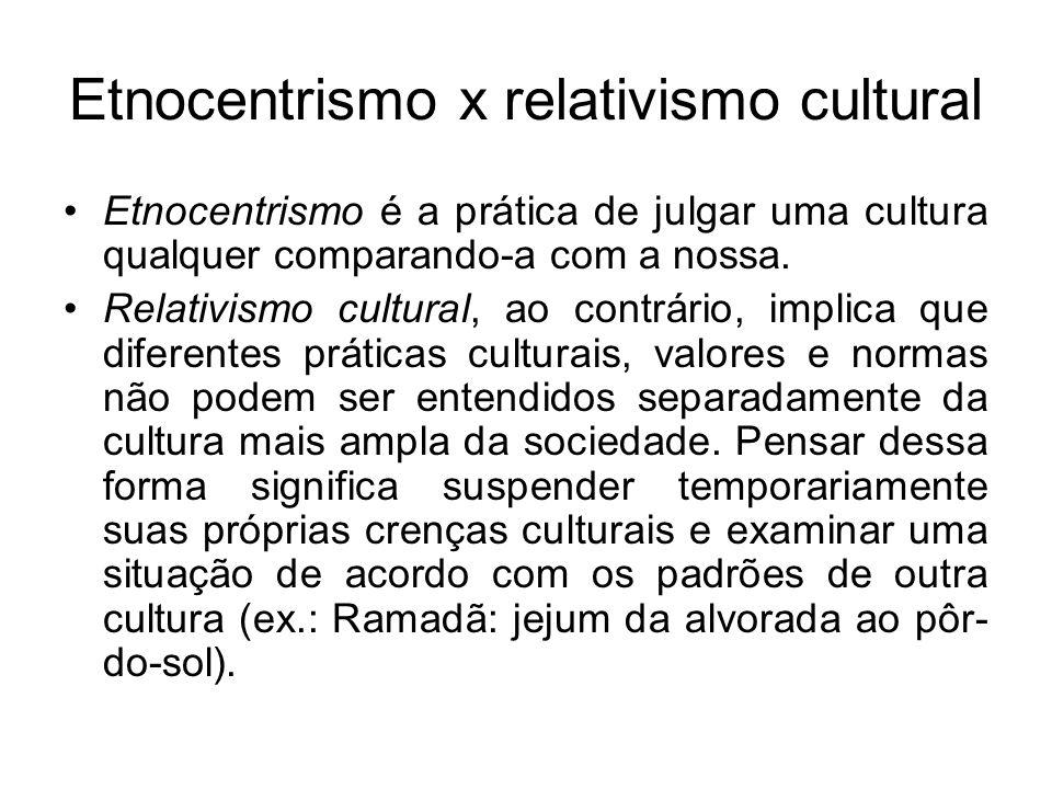 Etnocentrismo x relativismo cultural