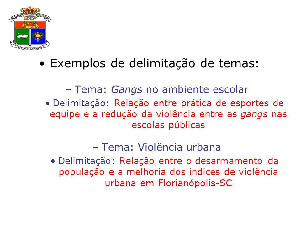 Exemplos de delimitação de temas: