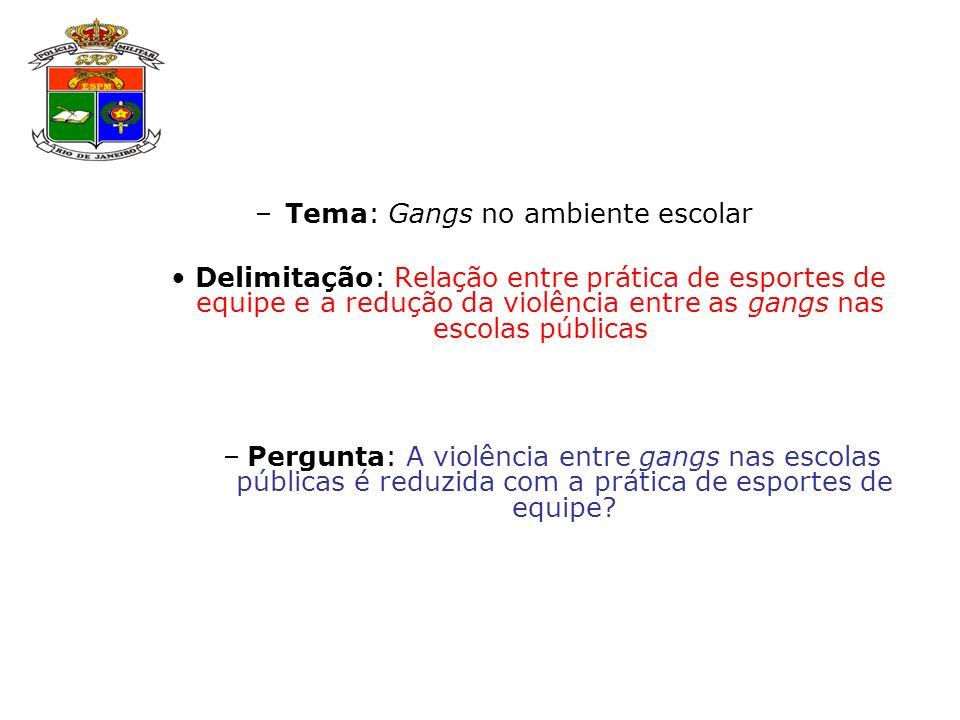 Tema: Gangs no ambiente escolar