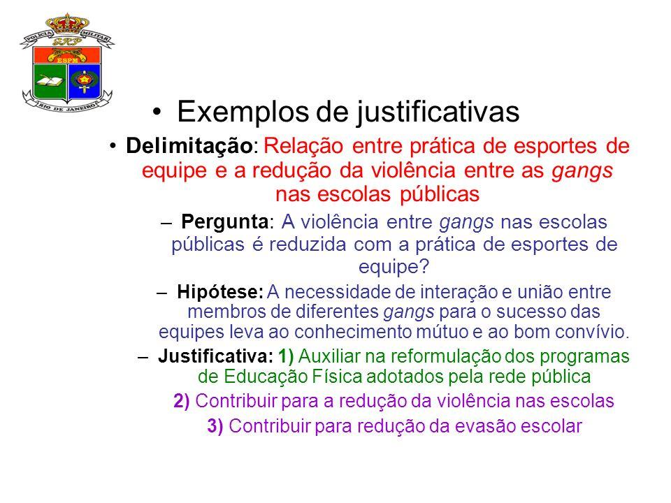 Exemplos de justificativas