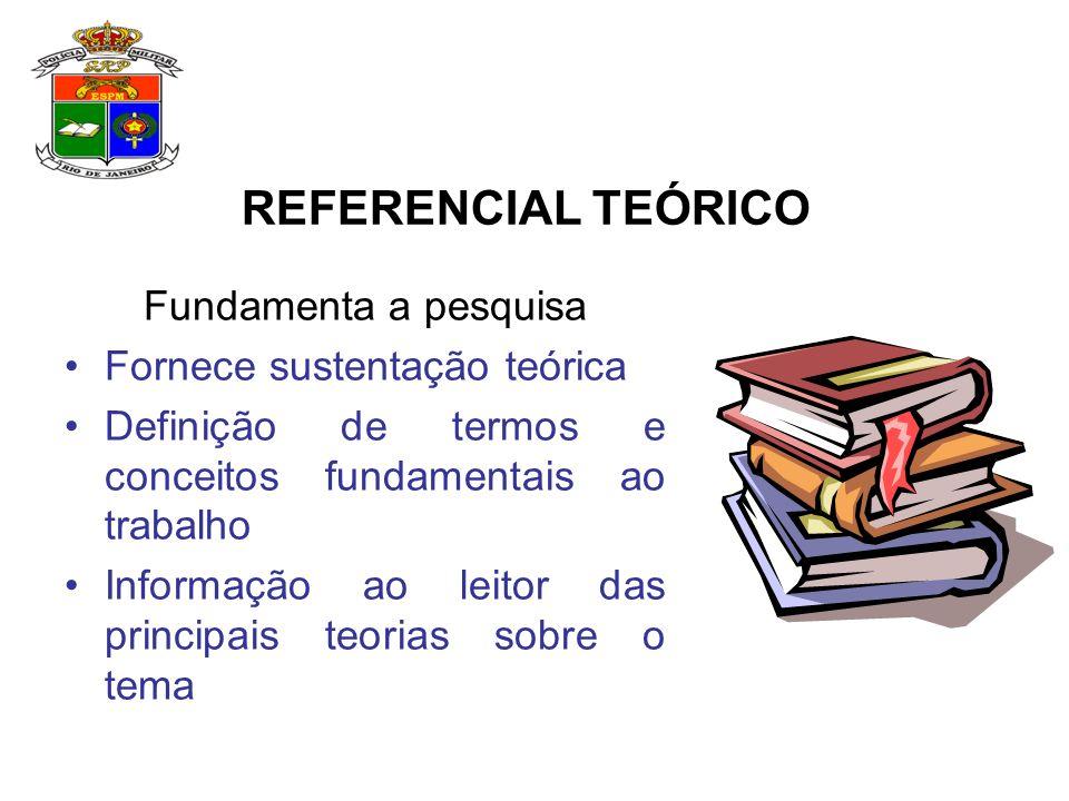 REFERENCIAL TEÓRICO Fundamenta a pesquisa Fornece sustentação teórica