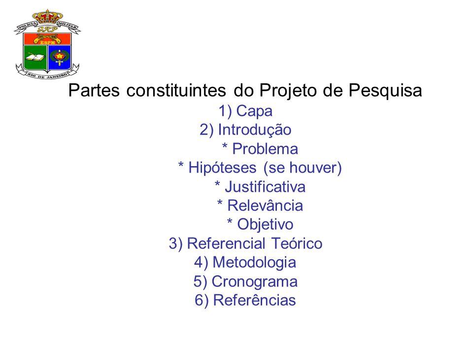 Partes constituintes do Projeto de Pesquisa