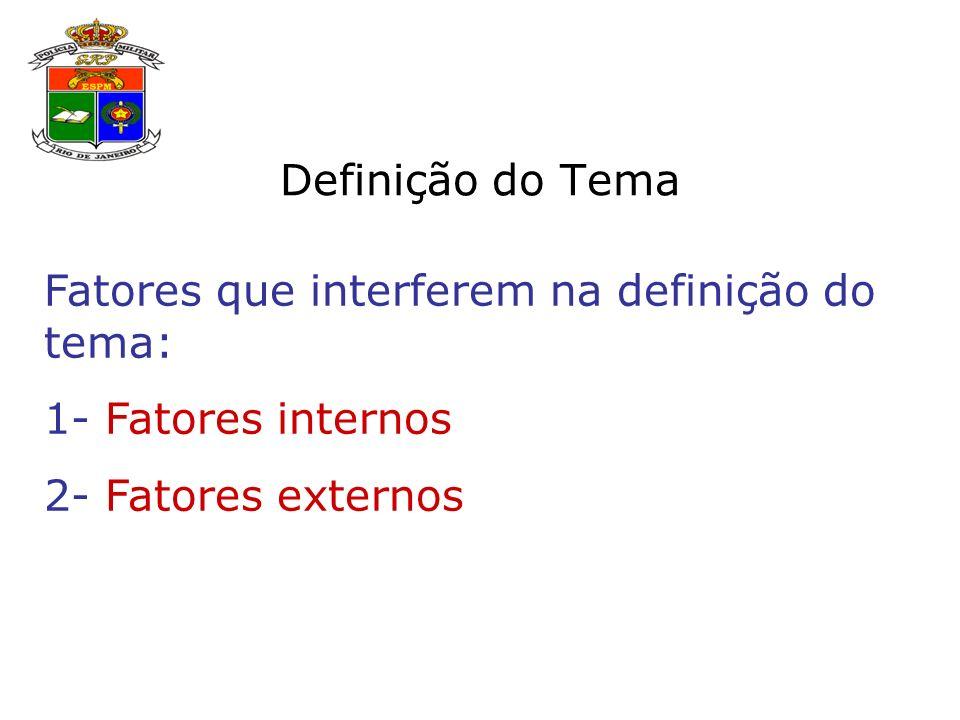 Definição do Tema Fatores que interferem na definição do tema: 1- Fatores internos.