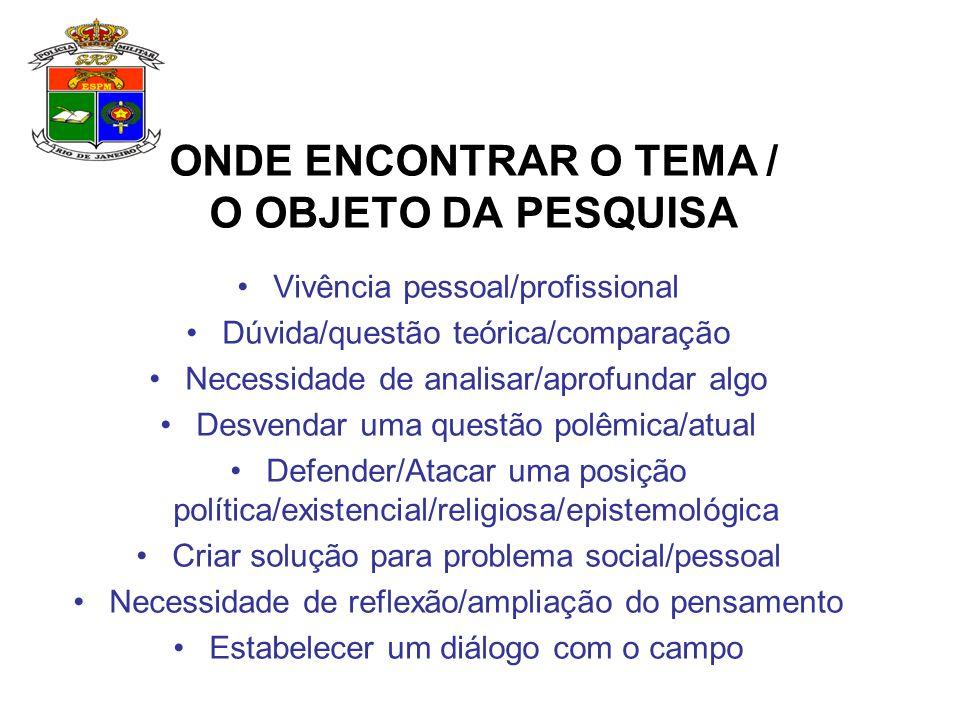 ONDE ENCONTRAR O TEMA / O OBJETO DA PESQUISA