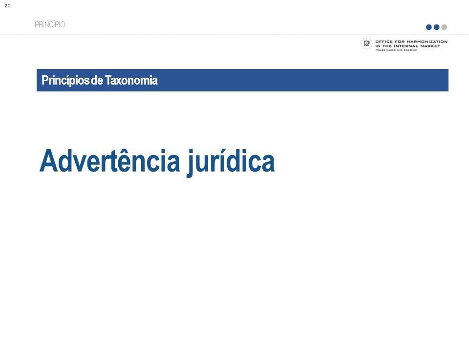 Advertência jurídica Princípios de Taxonomia PRINCÍPIO