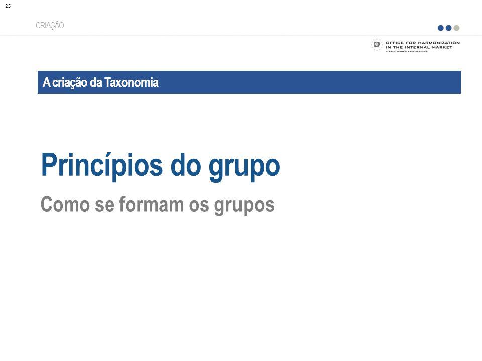 Princípios do grupo Como se formam os grupos A criação da Taxonomia
