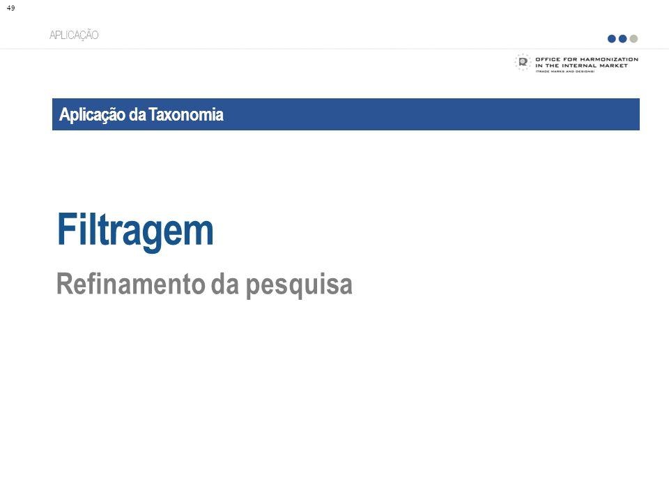Filtragem Refinamento da pesquisa Aplicação da Taxonomia APLICAÇÃO