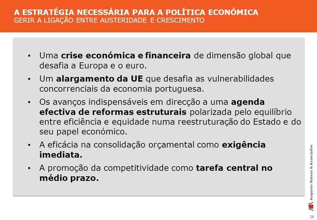 ▪ A eficácia na consolidação orçamental como exigência imediata.