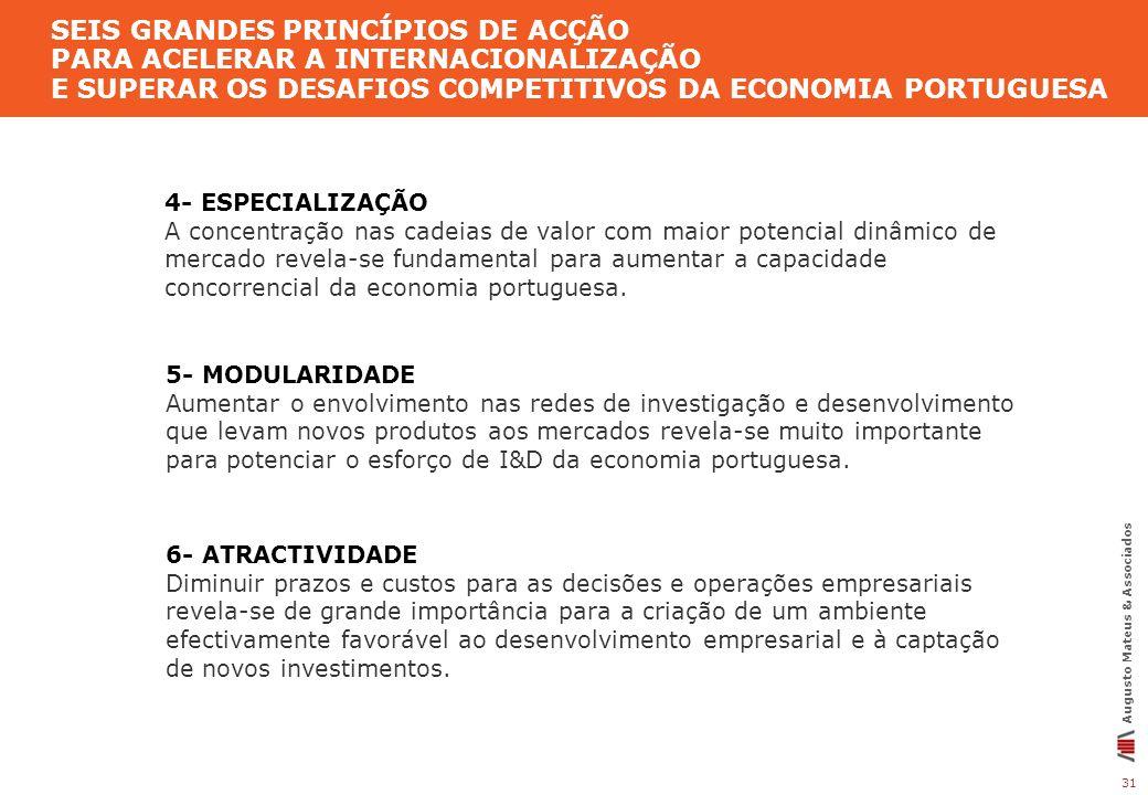 SEIS GRANDES PRINCÍPIOS DE ACÇÃO PARA ACELERAR A INTERNACIONALIZAÇÃO E SUPERAR OS DESAFIOS COMPETITIVOS DA ECONOMIA PORTUGUESA