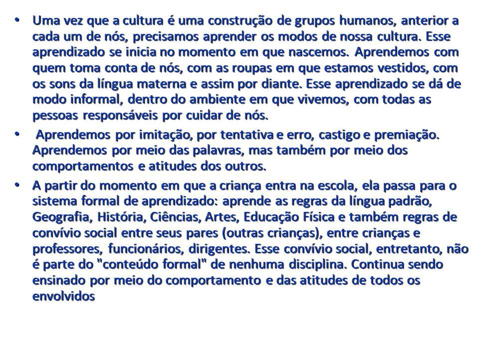 Uma vez que a cultura é uma construção de grupos humanos, anterior a cada um de nós, precisamos aprender os modos de nossa cultura. Esse aprendizado se inicia no momento em que nascemos. Aprendemos com quem toma conta de nós, com as roupas em que estamos vestidos, com os sons da língua materna e assim por diante. Esse aprendizado se dá de modo informal, dentro do ambiente em que vivemos, com todas as pessoas responsáveis por cuidar de nós.