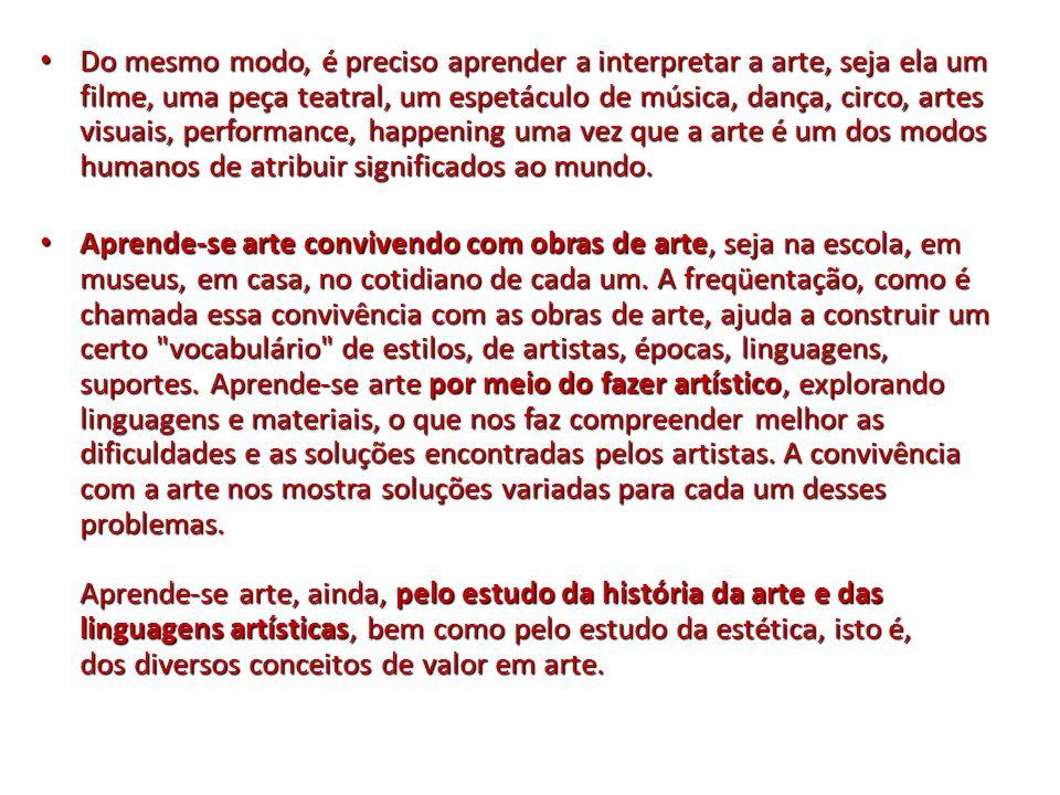 Do mesmo modo, é preciso aprender a interpretar a arte, seja ela um filme, uma peça teatral, um espetáculo de música, dança, circo, artes visuais, performance, happening uma vez que a arte é um dos modos humanos de atribuir significados ao mundo.