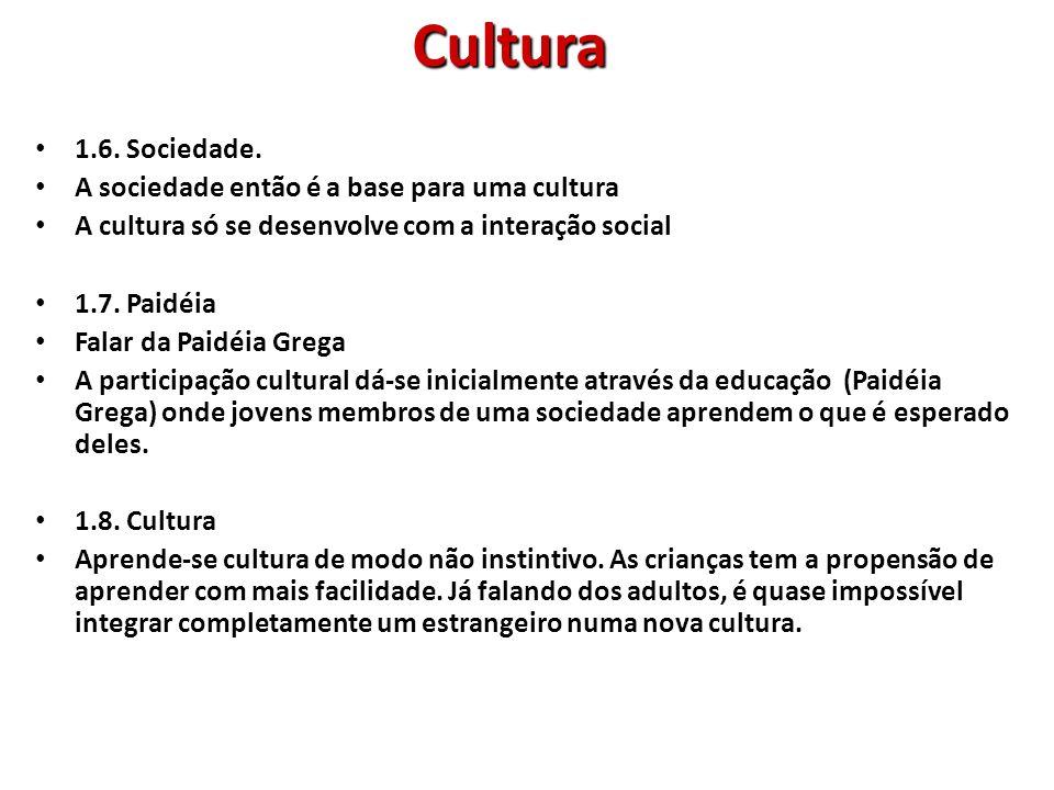Cultura 1.6. Sociedade. A sociedade então é a base para uma cultura